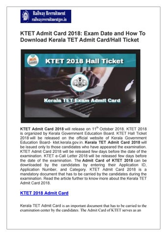 KTET Admit Card 2018: Exam Date and How To Download Kerala