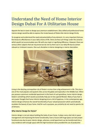 Understand The Need Of Home Interior Design Dubai For A Utilitarian House By Atrashidahmad Issuu