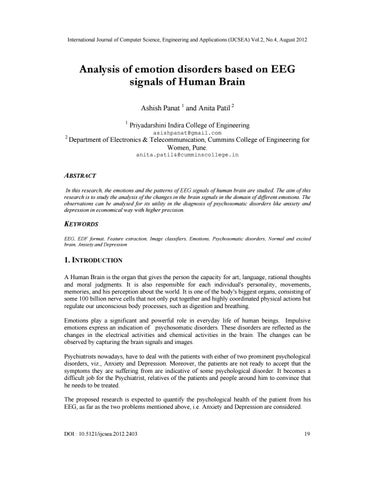 Analysis of emotion disorders based on EEG signals of Human