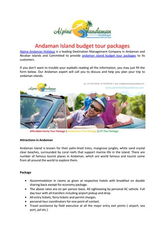 Andaman Island Budget Tour Packages