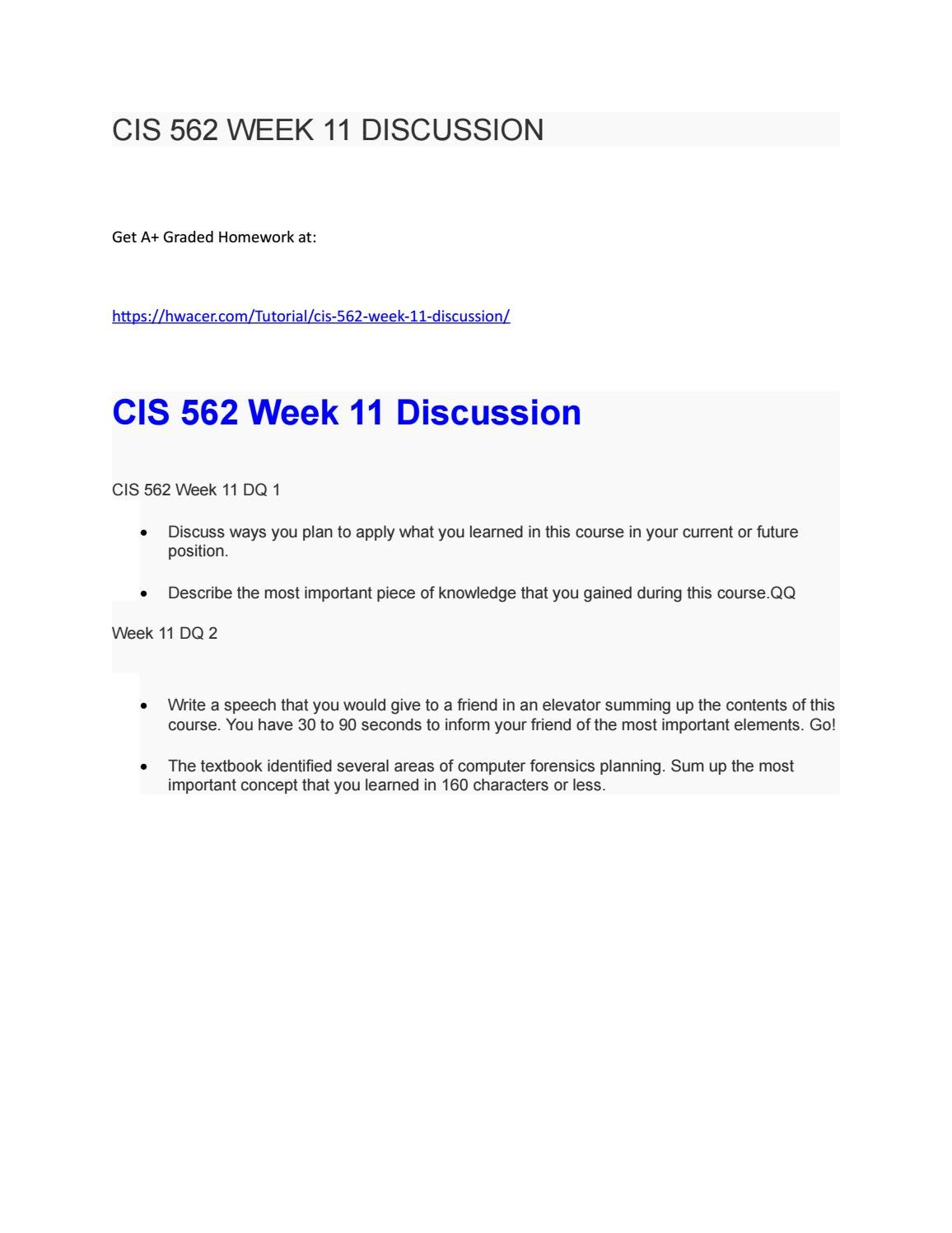 Cis 562 Week 11 Discussion By Hwacerworks Issuu