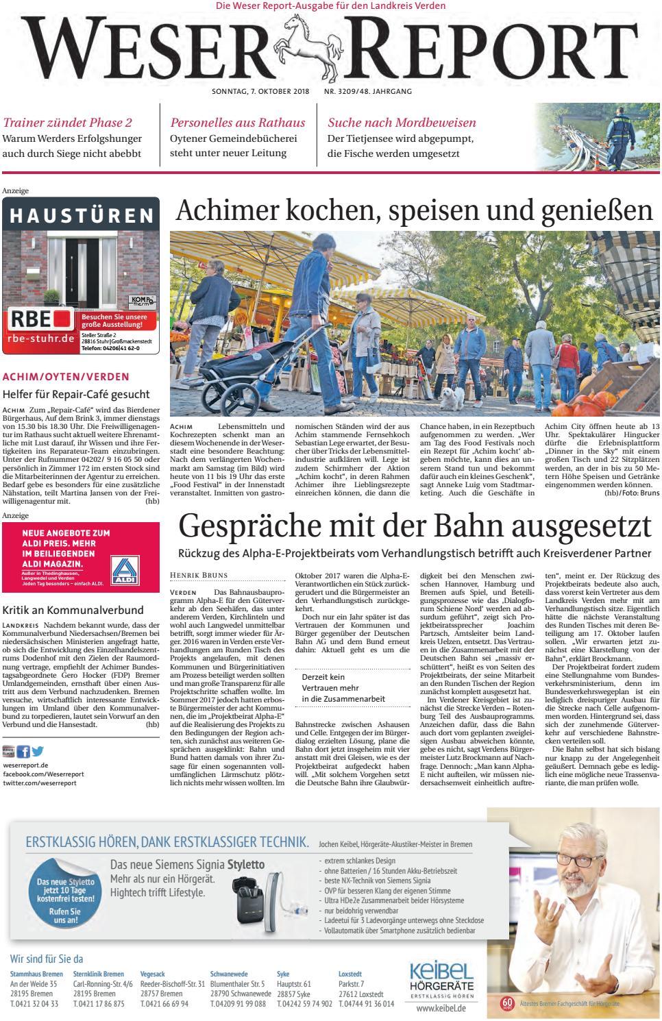 Weser Report - Achim, Oyten, Verden vom 07.10.2018 by KPS  Verlagsgesellschaft mbH - issuu