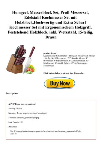 Homgeek Messerblock Set Profi Messerset Edelstahl Kochmesser Set