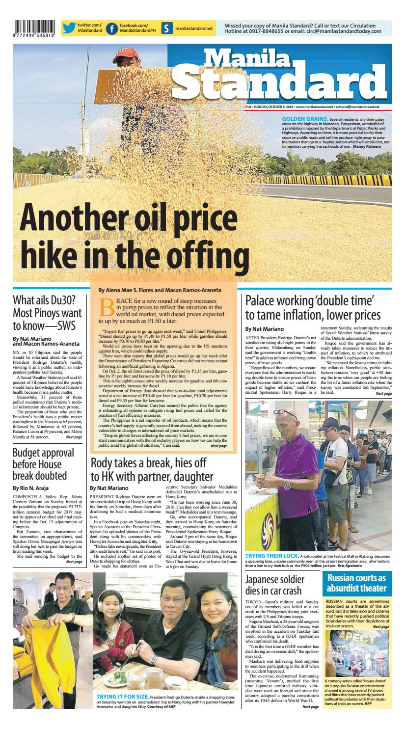 Manila Standard - 2018 October 8 - Monday by Manila Standard