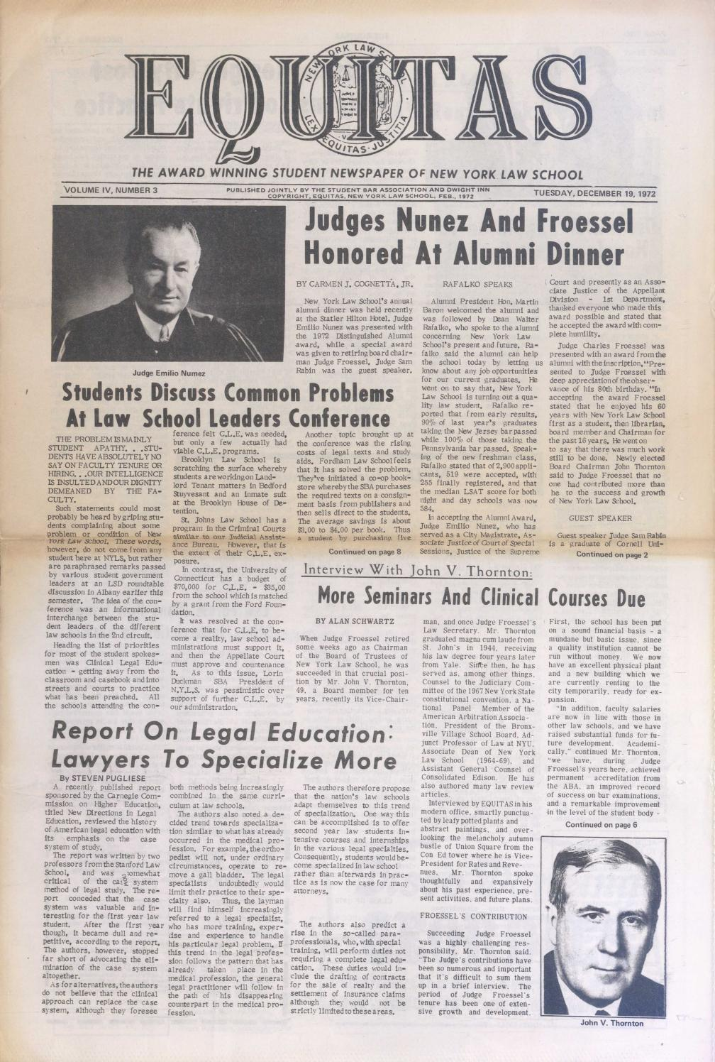 Equitas, vol IV, no  3, December 19, 1972 by New York Law