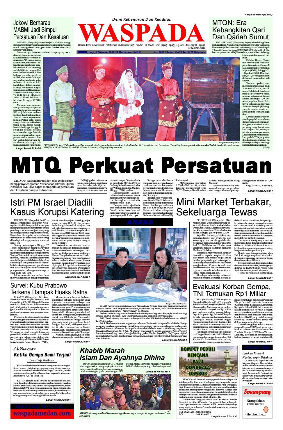 Waspada Senin 8 Oktober 2018 By Harian Issuu Produk Ukm Bumn Suscho Sus Coklat Surabaya