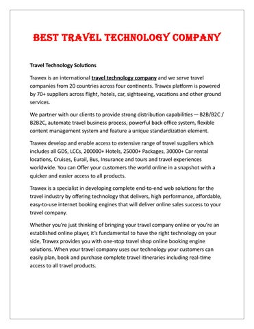 Best Travel Technology Company by Liam Scott - issuu
