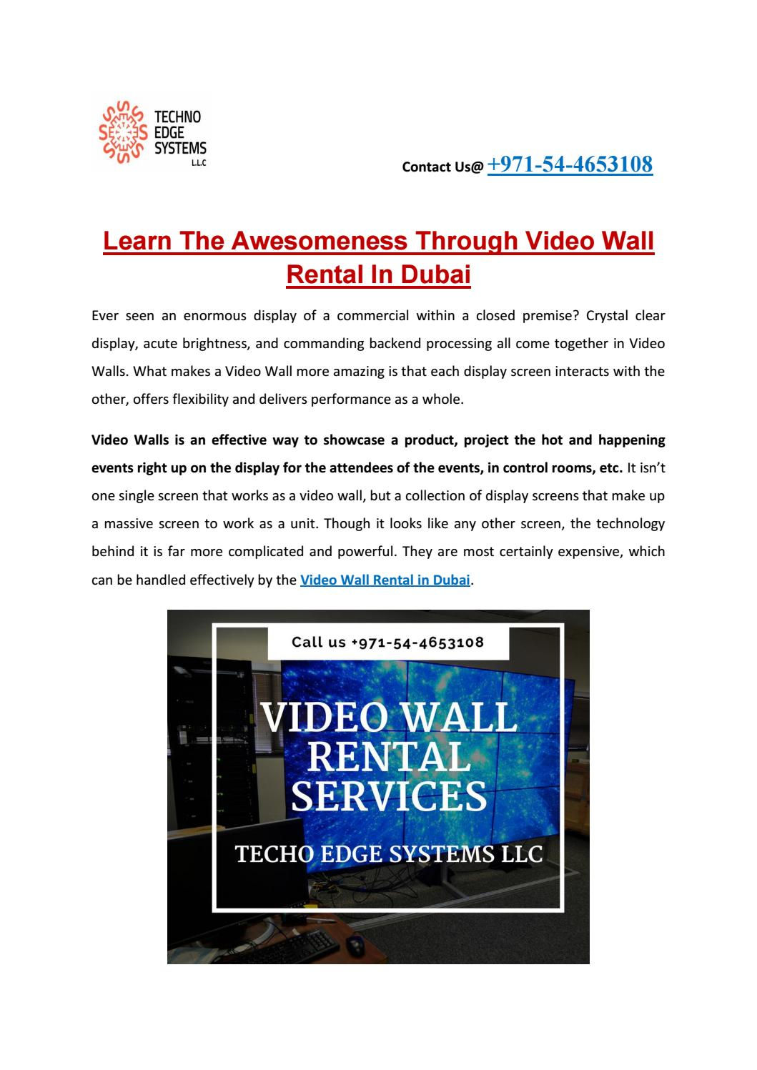 Learn The Awesomeness Through Video Wall Rental In Dubai by