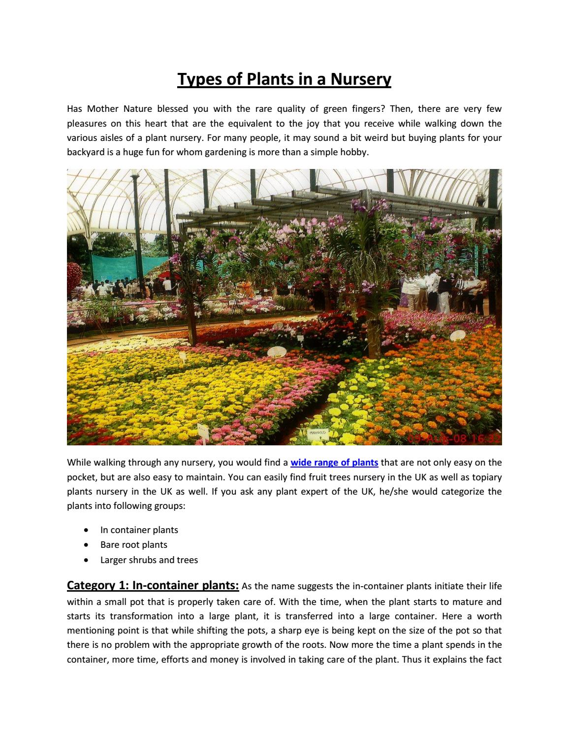 Types Of Plants In Greenhills Nursery
