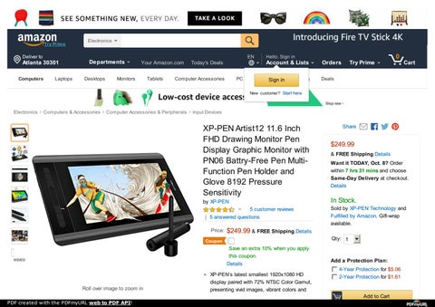Best Portable Pen Display Tablet Monitor XP-Pen Artist 12 for