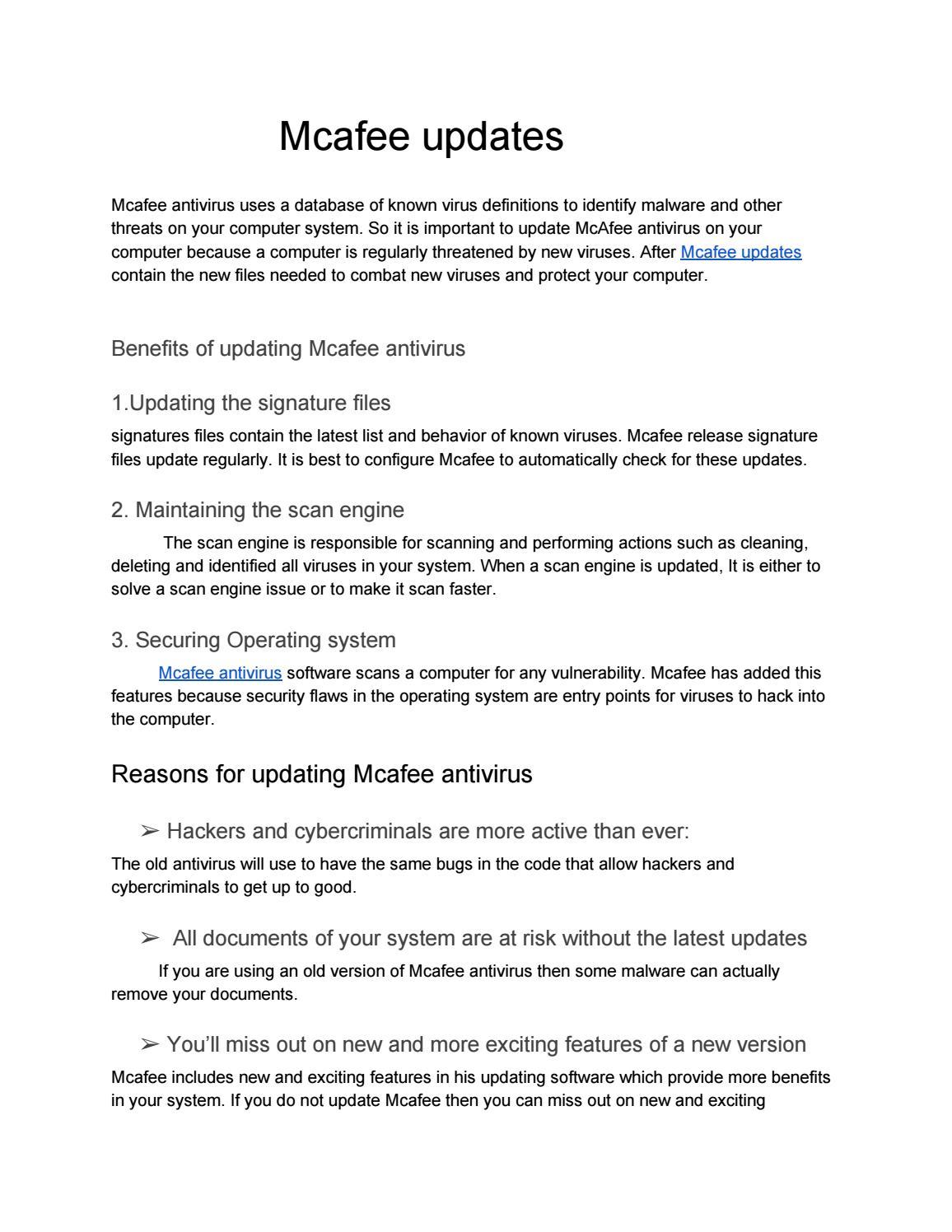 Mcafee virusscan enterprise 8. 7 i update download.