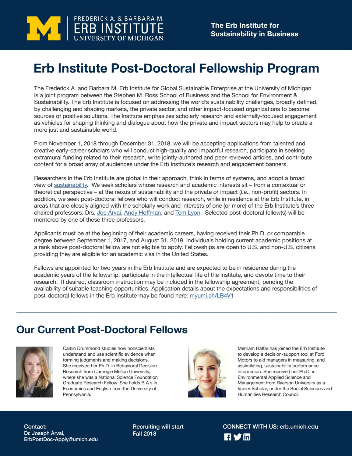 Erb Institute Post-Doctoral Fellowship Program by Erb