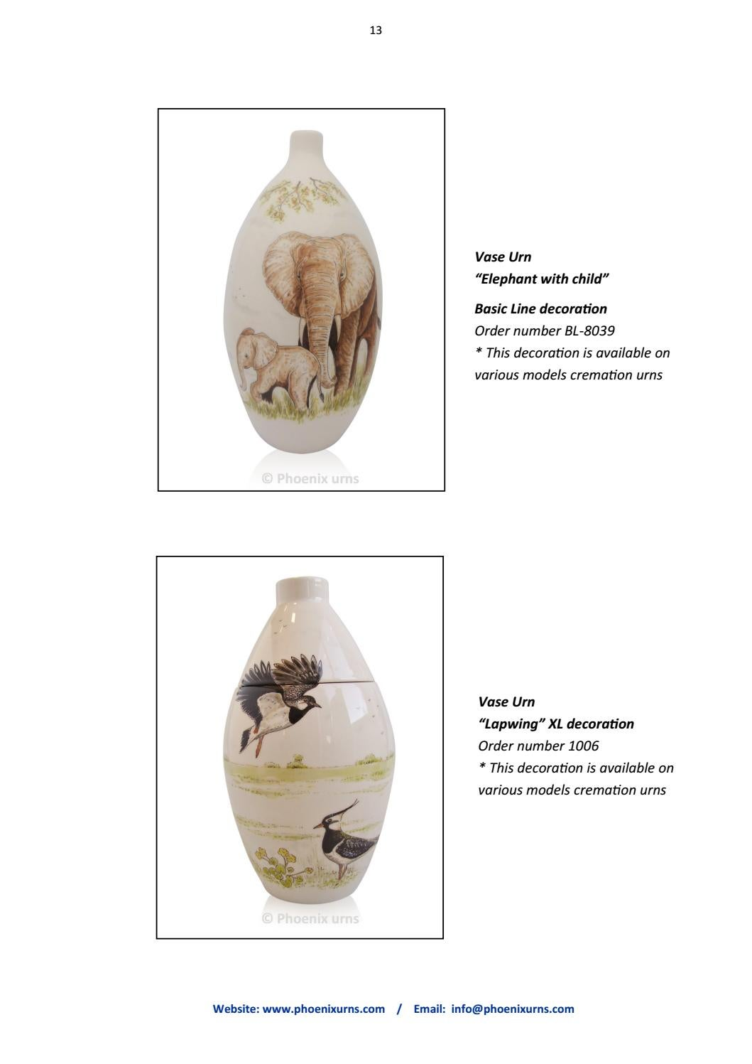Catalogue 2018 - 2019 PHOENIX URNS hand painted cremation