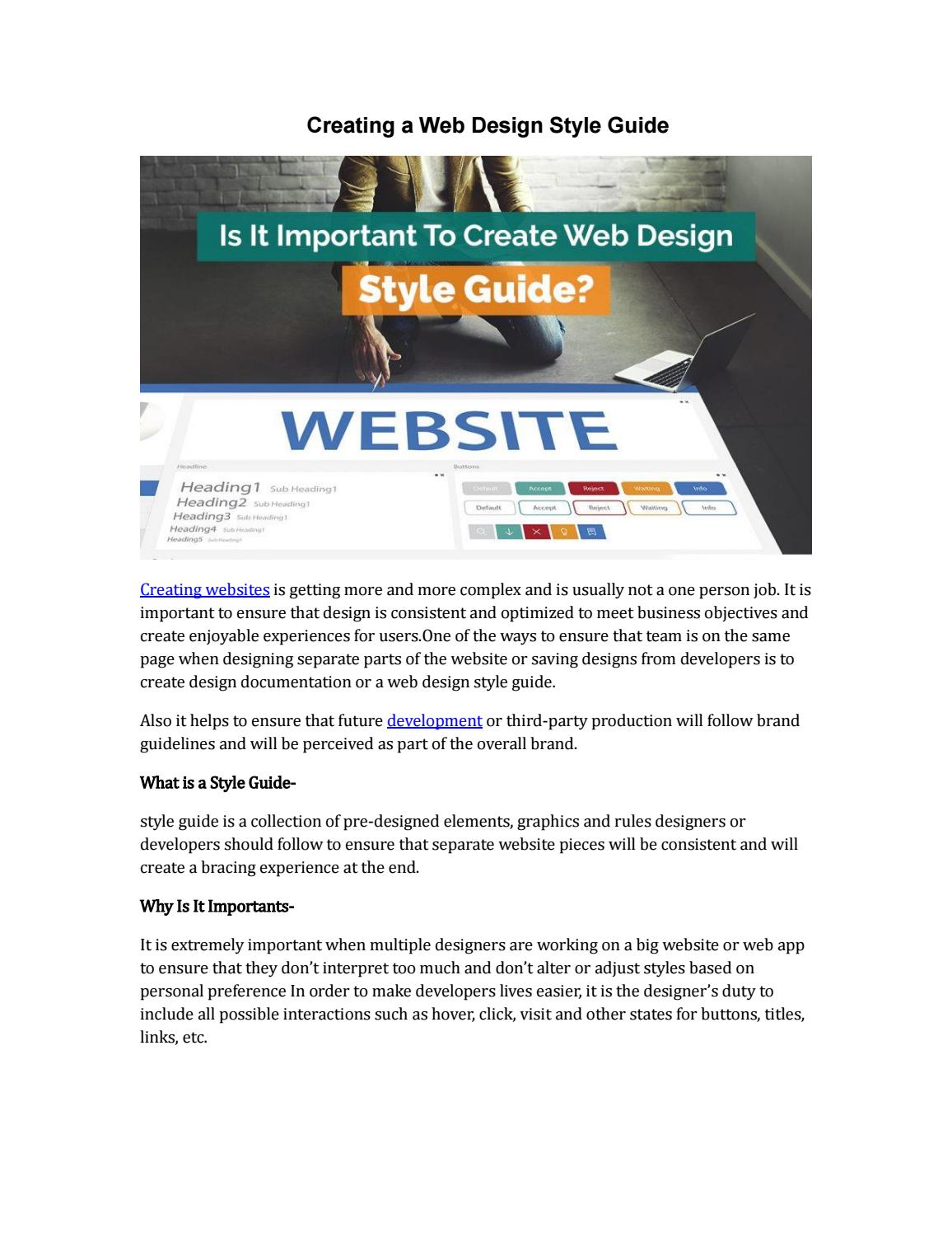 Creating a Web Design Style Guide by PiTech Indore - issuu