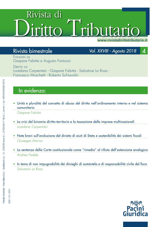 e84f4dfb5d Rivista Diritto Tributario 04/2018 by Pacini Editore - issuu