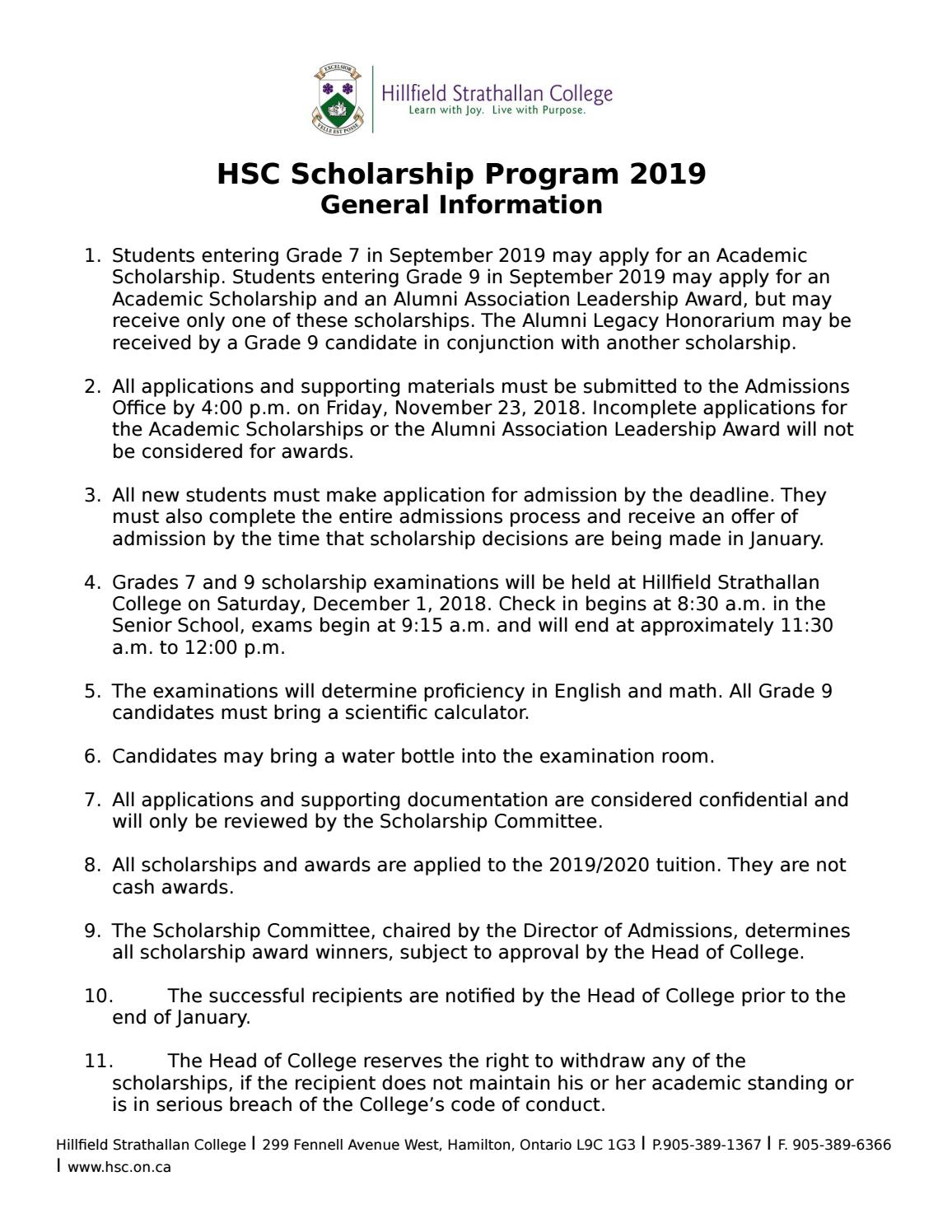 HSC Scholarship Program 2019 General Information by