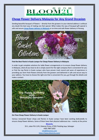 Cheap Flower Delivery Malaysia For Any Grand Occasion By