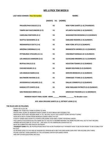 Nfl Week 6 You Pick Em Sheet By Rocky Boy Veterans Center Issuu