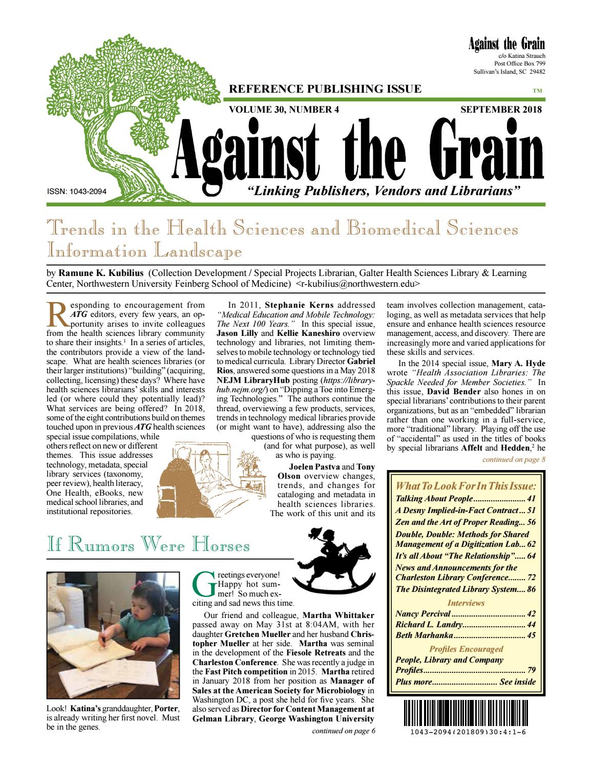 Against the Grain v30 #4 September 2018 by against-the-grain