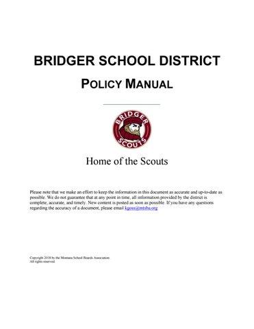 Bridger School District Policy Manual by Montana School Boards