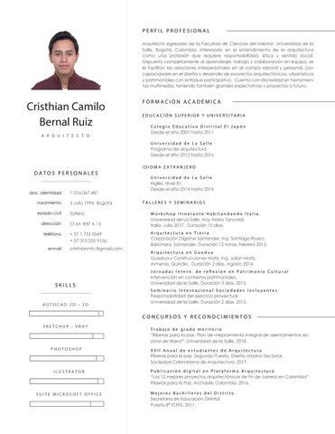Curriculum Vitae Cristhian Camilo Bernal Ruiz 2018 By Cristhian