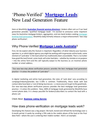 Mortgage broker leads by wealthify - issuu