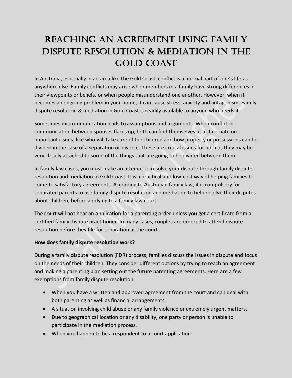 Family Dispute Resolution & Mediation Gold Coast by SMH
