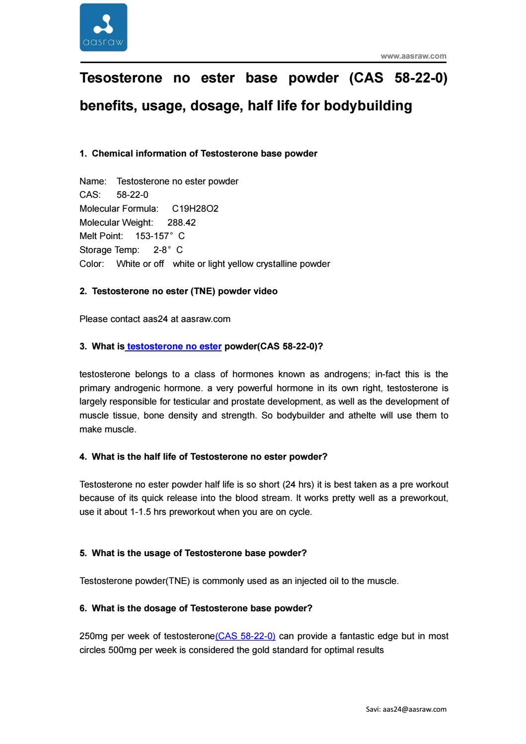 Tesosterone no ester base powder (CAS 58-22-0) benefits