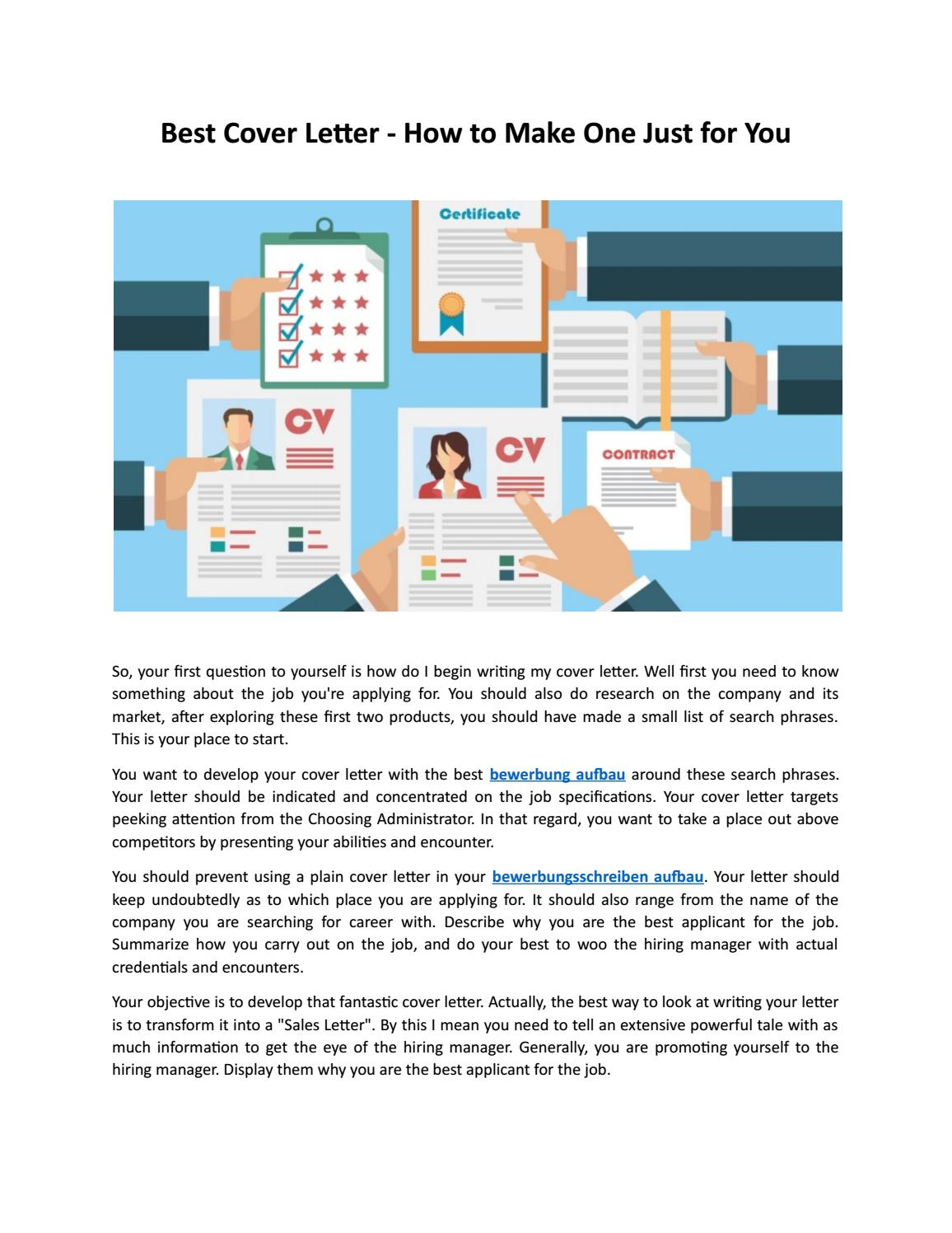 Best Cover Letter How To Make One Just For You By Robert Schmidt Issuu