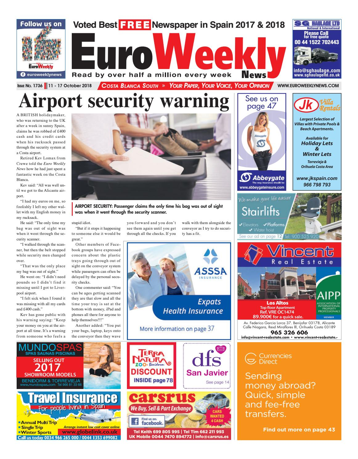 Costa Blanca South October 11 17 2018 Issue 1736 By Euro