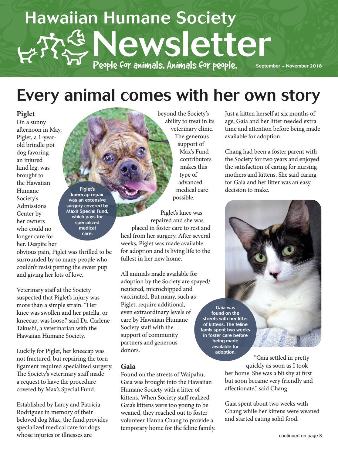 Hawaiian Humane Society September 2018 Newsletter by