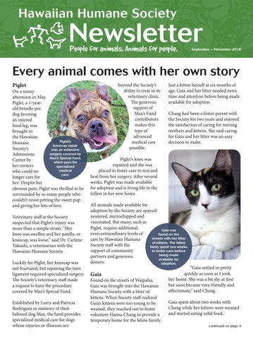 Hawaiian Humane Society September 2018 Newsletter By Hawaiian Humane