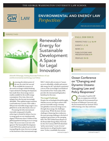 Environmental and Energy Law Perspectives Fall 2018 by The George