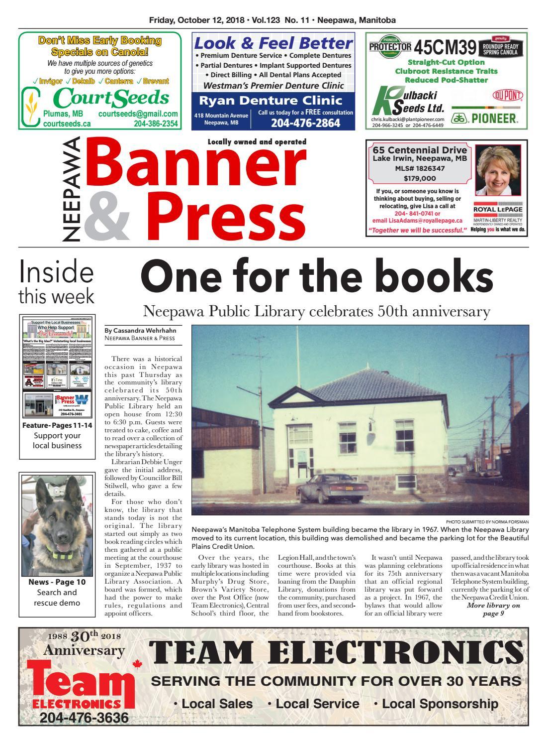 October 12, 2018 Neepawa Banner & Press by Neepawa