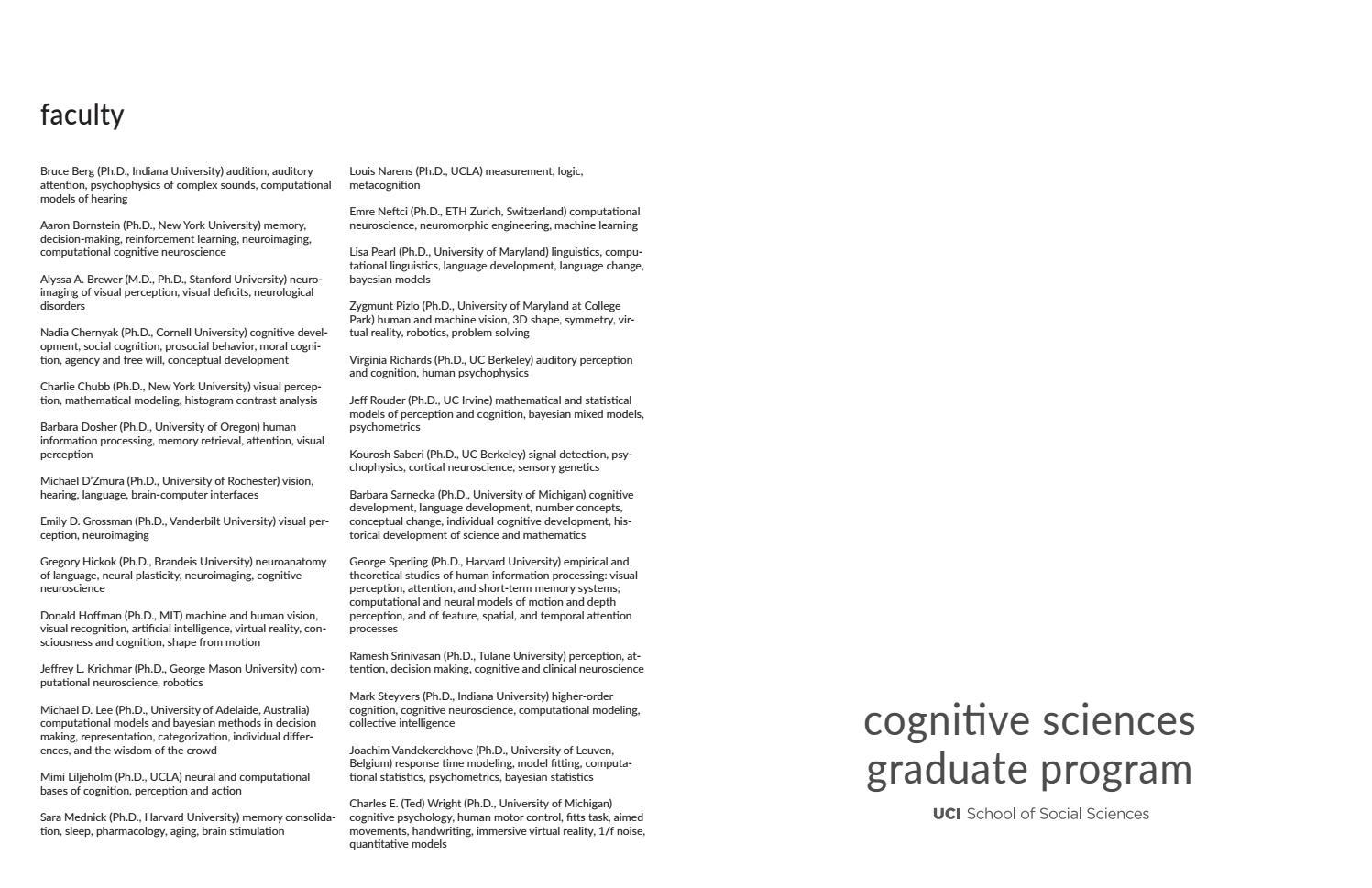 Cognitive Sciences Graduate Program 2018 by UCI School of
