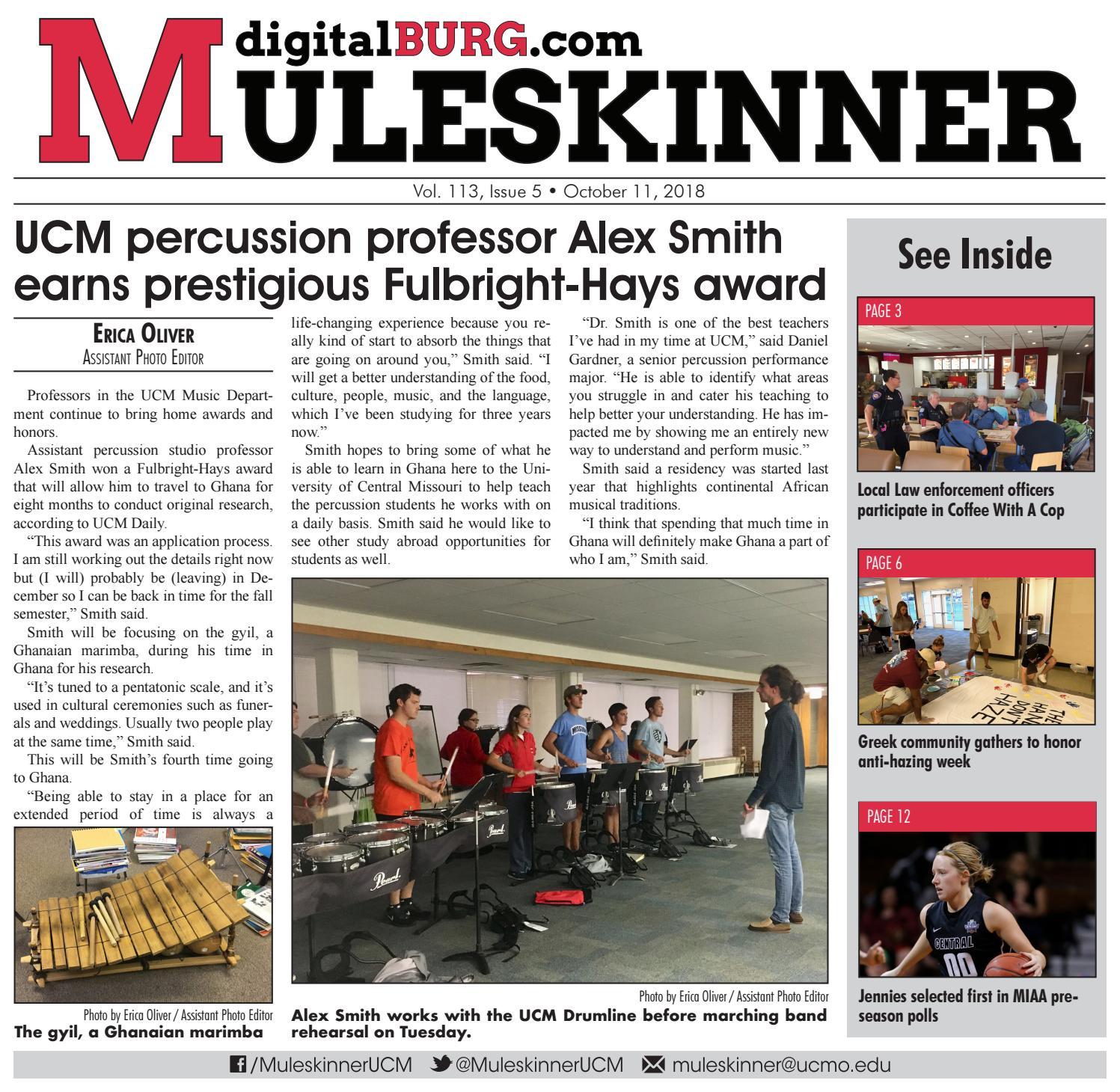 Muleskinner Vol  113, Issue 5, 10-11-2018 by UCM Muleskinner