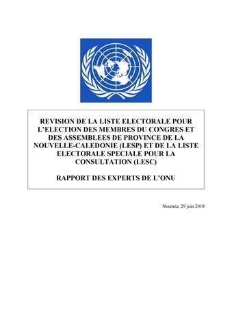 Rapport Des Experts De L Onu Sur Les Listes Electorales By Nc La