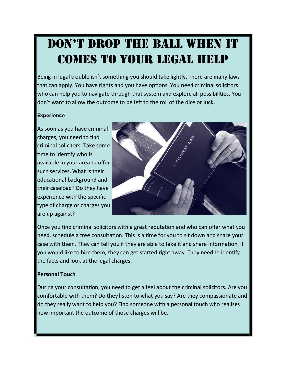Don't Drop the Ball when it Comes to your Legal Help by M & A