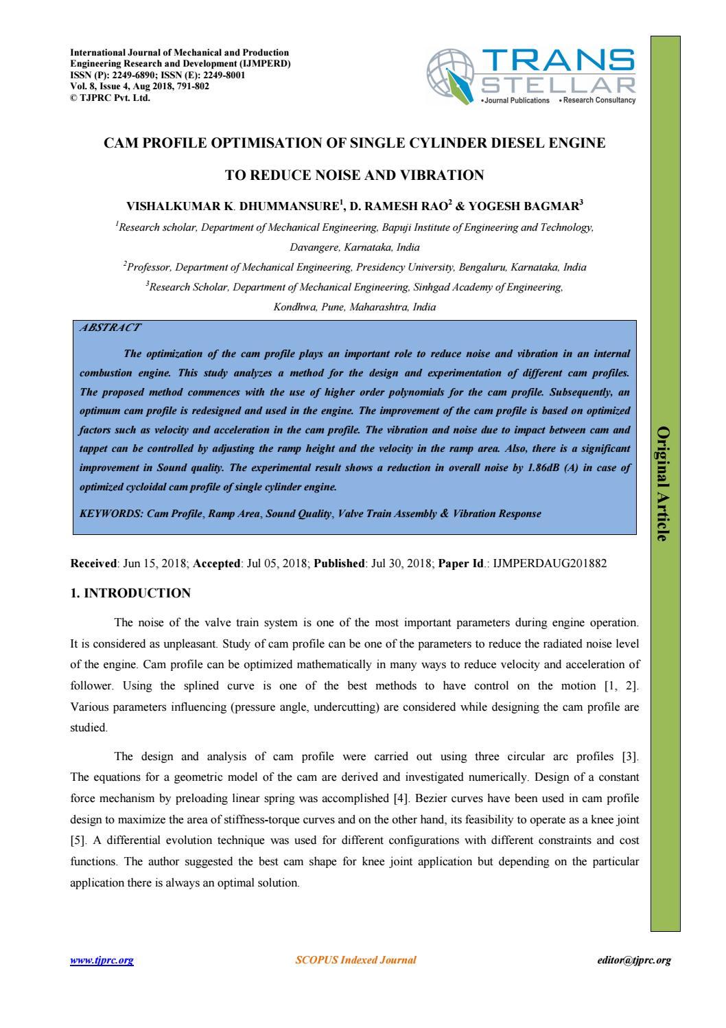CAM PROFILE OPTIMISATION OF SINGLE CYLINDER DIESEL ENGINE TO