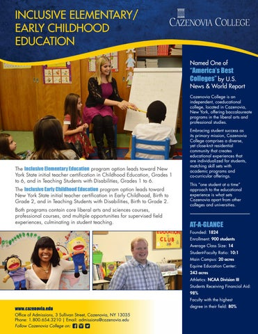 Inclusive Elementary Early Childhood Education Brochure By
