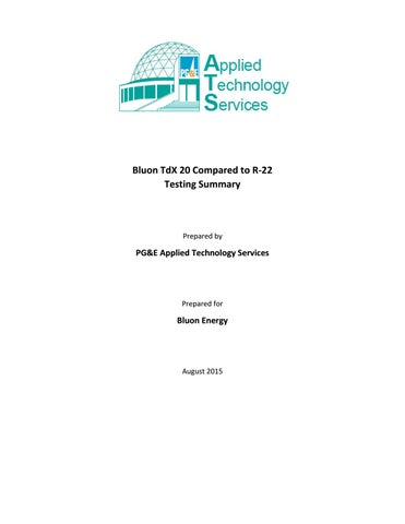 Bluon TdX 20 Compared to R-22 Testing Summary by Bluon Energy - issuu