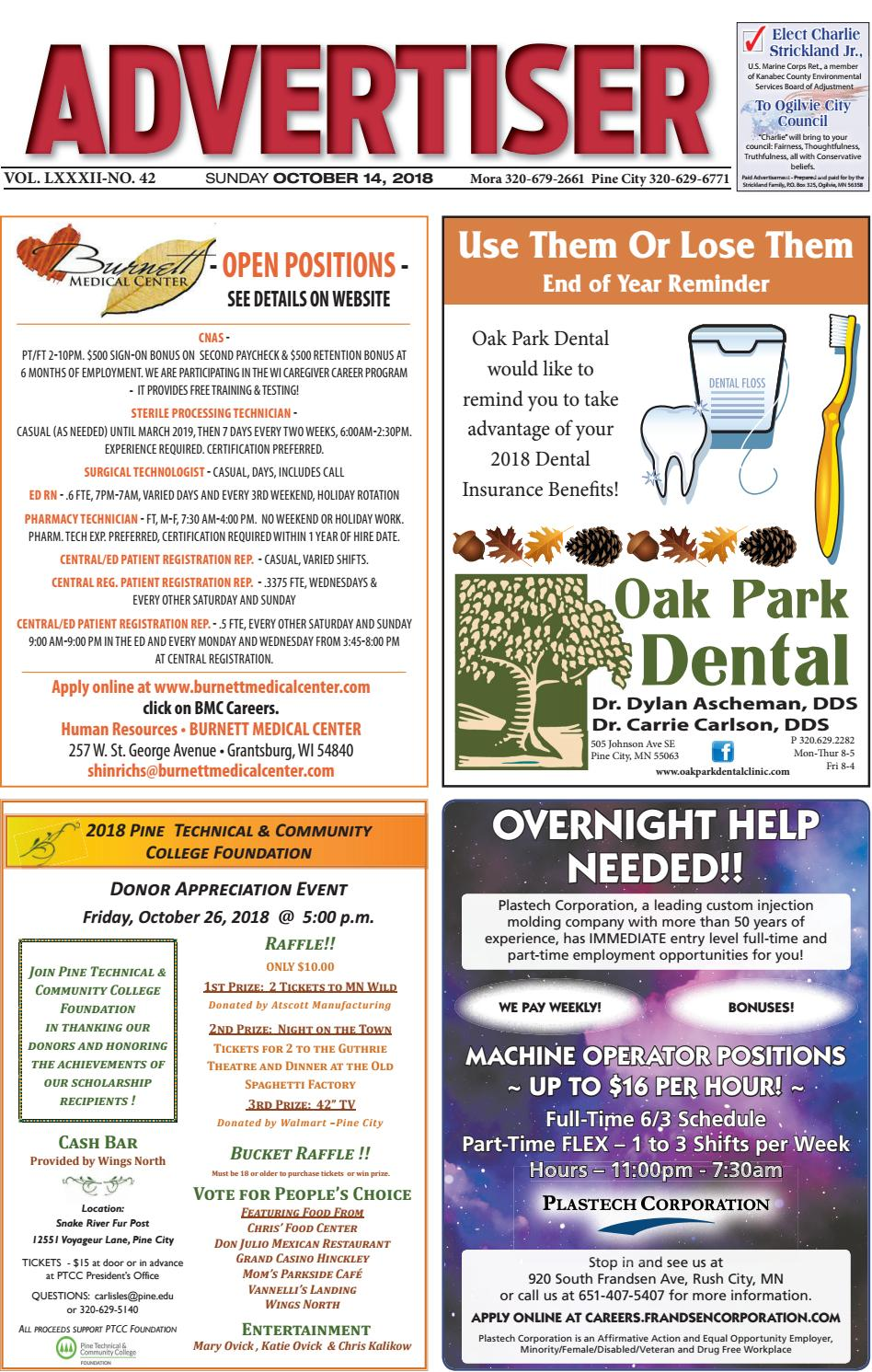 Pine Advertiser 101418 by Kanabec County Times/Pine City