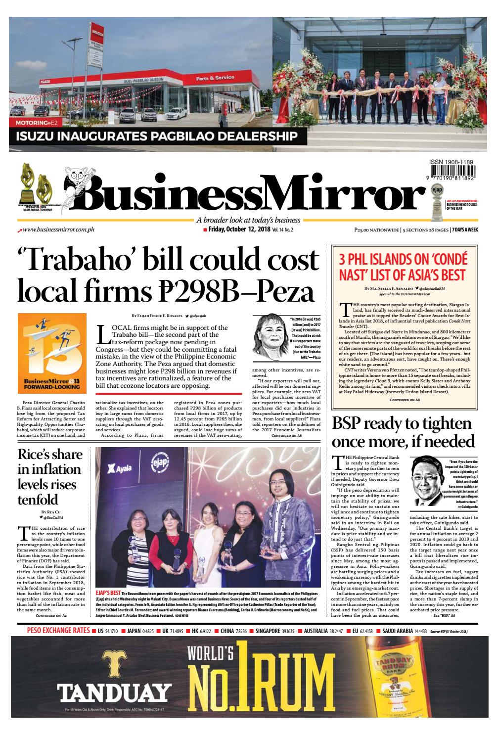 BusinessMirror October 12, 2018 by BusinessMirror - issuu