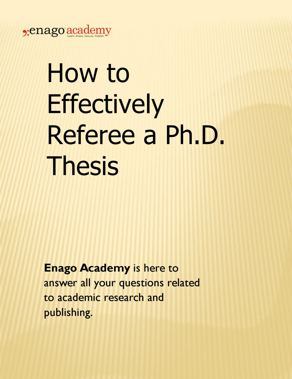Phd thesis referee report book report of the tale of despereaux