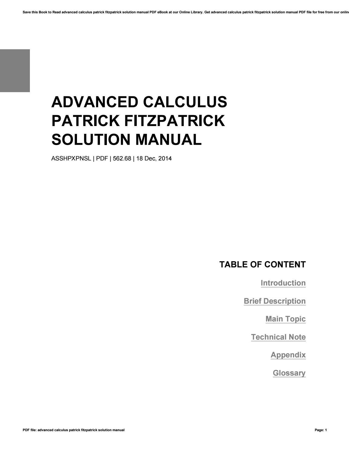 Advanced Calculus Patrick Fitzpatrick Solution Manual By Leonardcharles908 Issuu