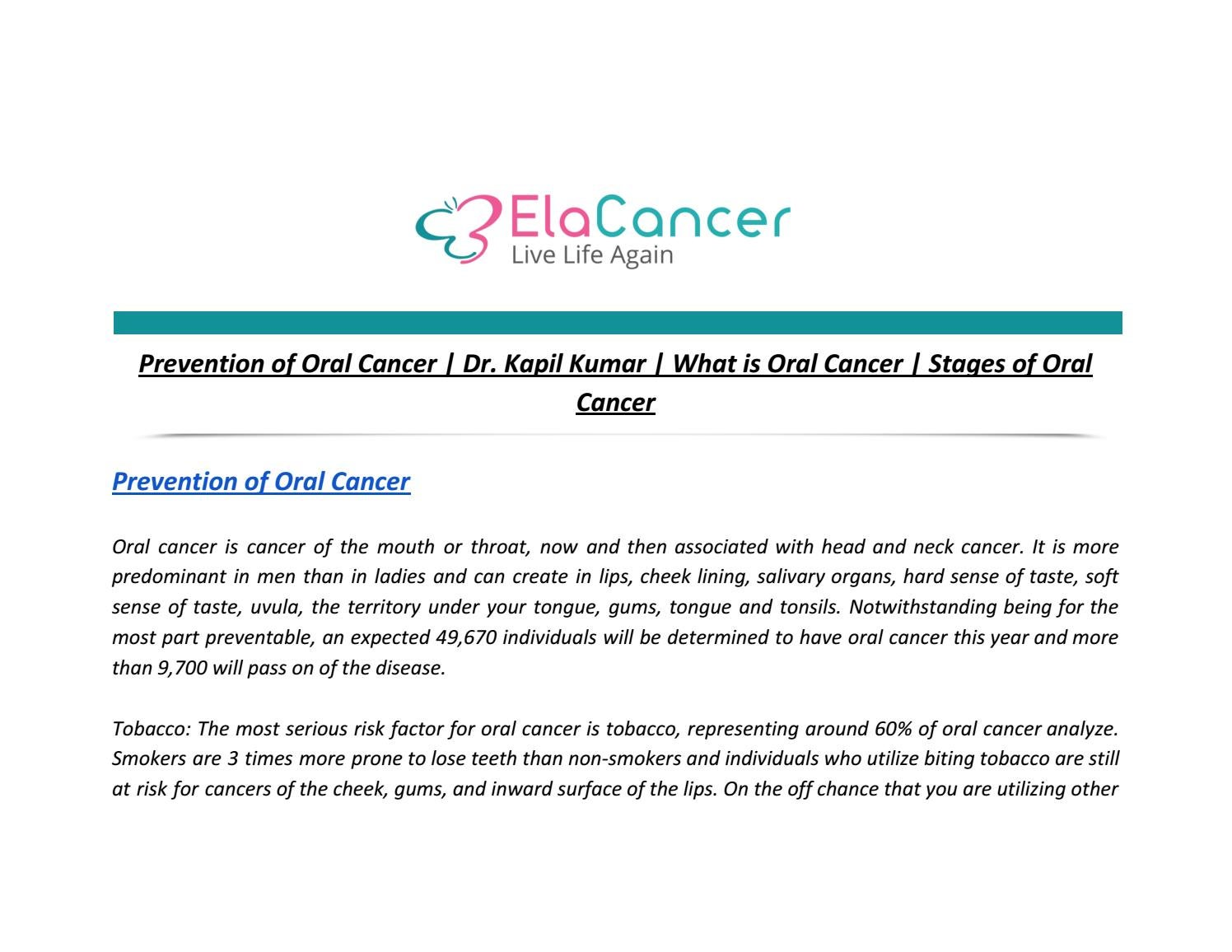 Prevention of Oral Cancer | Dr  Kapil Kumar | What is Oral
