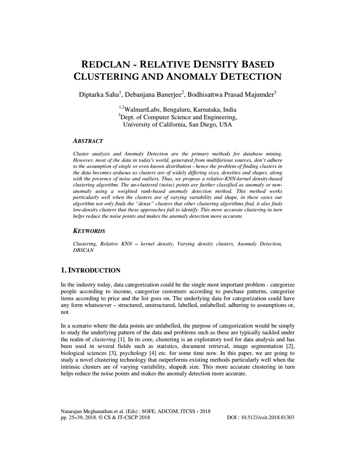 REDCLAN - RELATIVE DENSITY BASED CLUSTERING AND ANOMALY