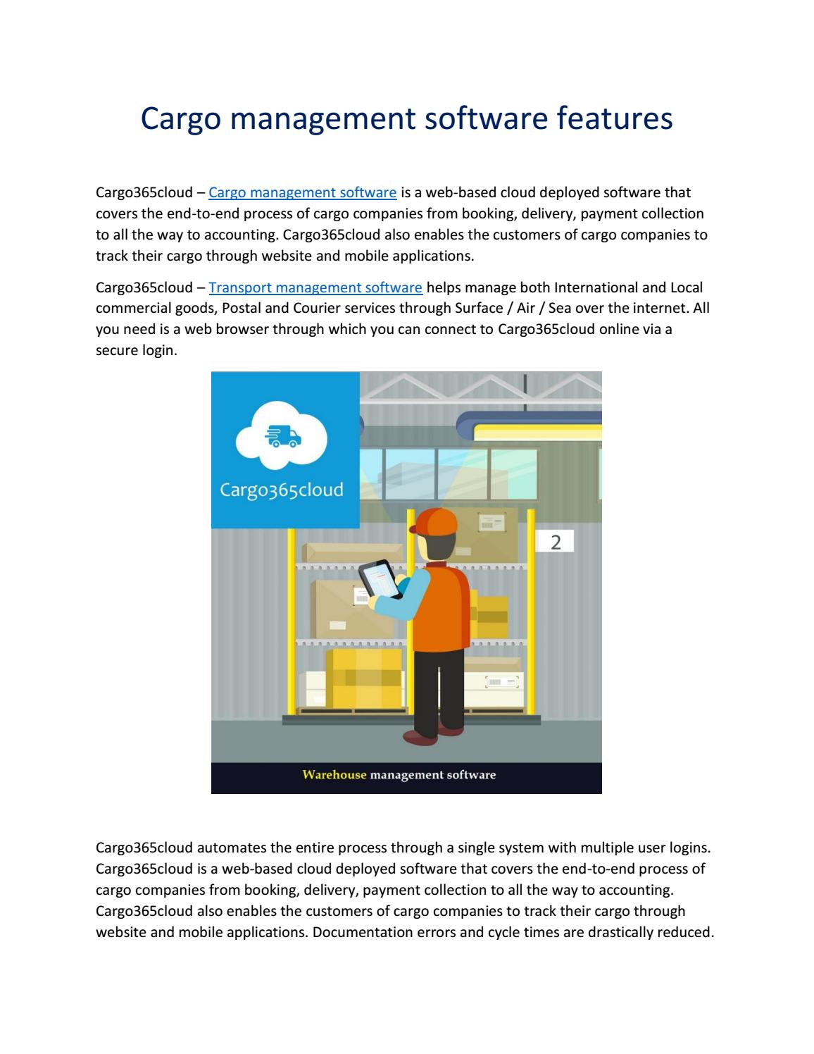 Cargo management software features by Cargo365Cloud - issuu