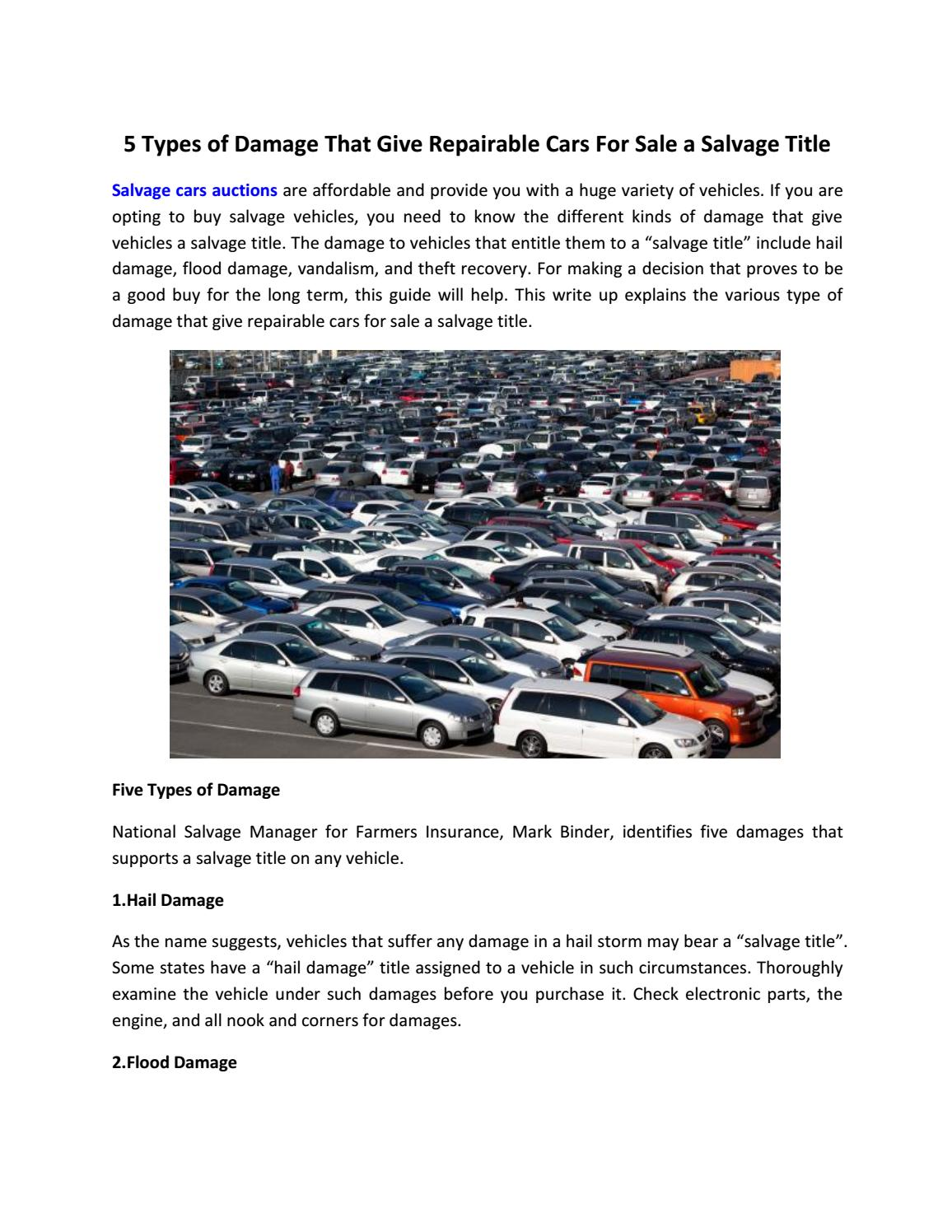 Repairable Cars For Sale >> 5 Types Of Damage That Give Repairable Cars For Sale A