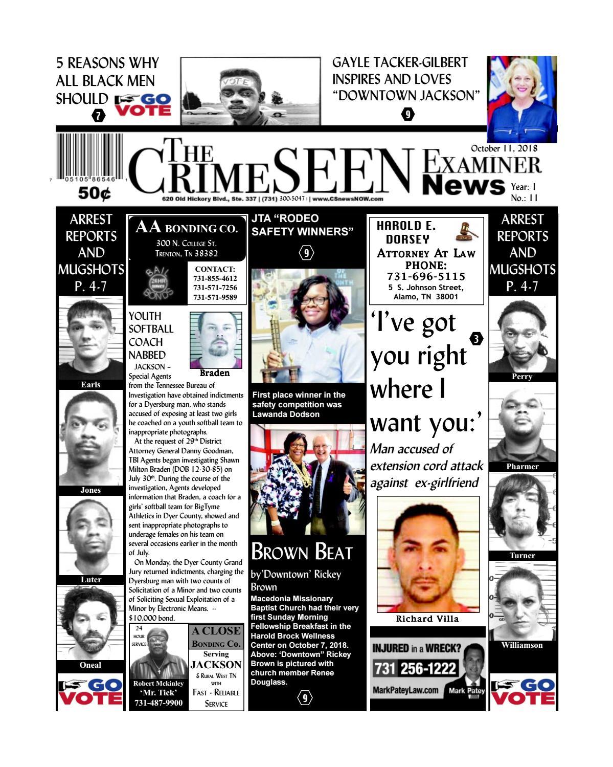 The CrimeSEEN Examiner News October 11, 2018 by CrimeSEEN